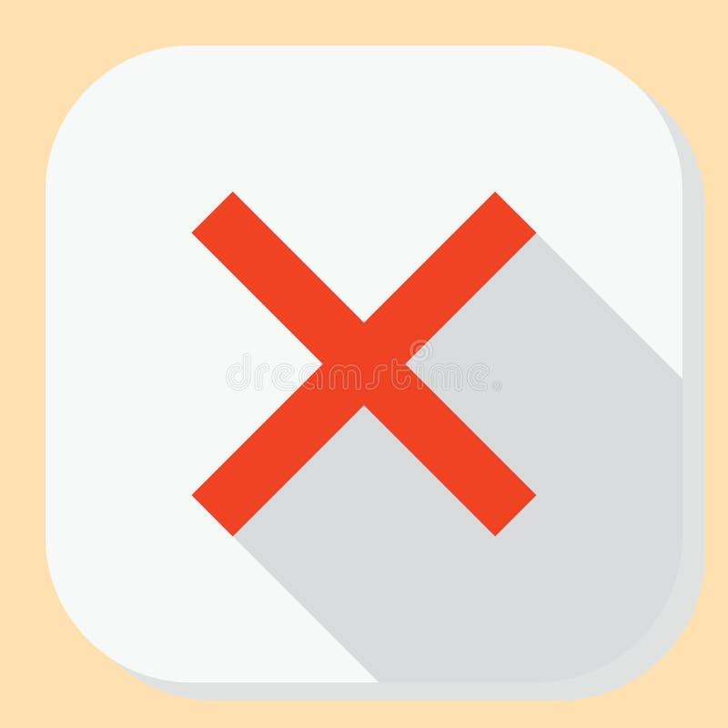 Icona vicina dell'uscita di cancellazione Simbolo per il menu di applicazione web Bottone piano di progettazione con ombra lunga illustrazione vettoriale