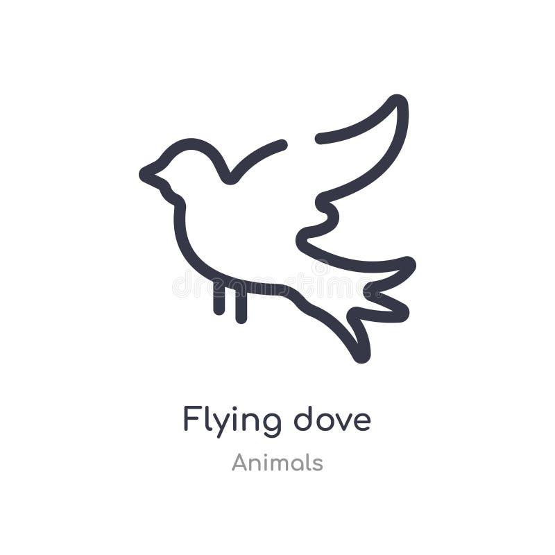 icona volante del profilo della colomba linea isolata illustrazione di vettore dalla raccolta degli animali icona sottile editabi illustrazione vettoriale