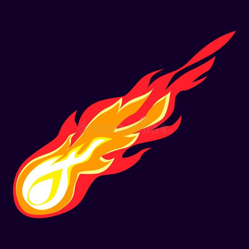 Icona volante della meteorite, stile del fumetto royalty illustrazione gratis