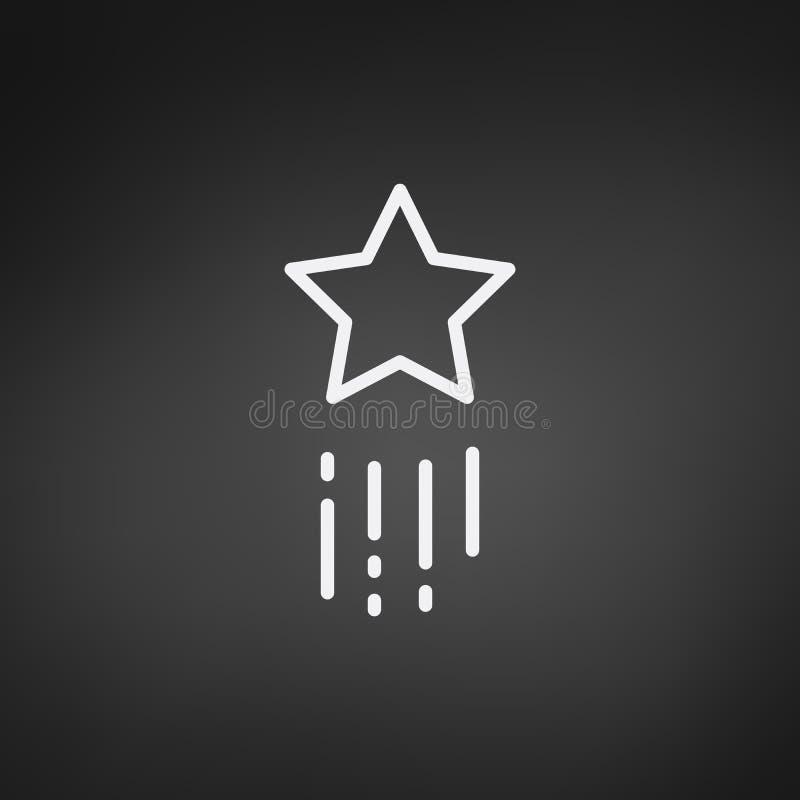 Icona volante della stella cadente Illustrazione di vettore isolata su fondo nero illustrazione di stock