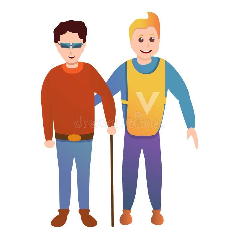Icona volontaria dell'uomo cieco di aiuto, stile del fumetto illustrazione vettoriale