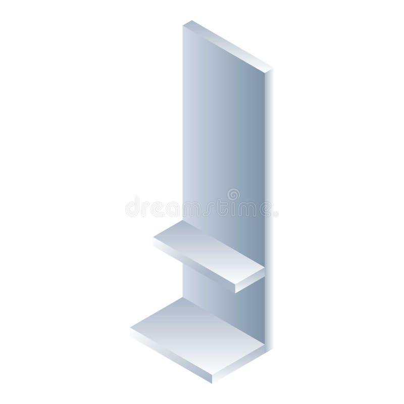 Icona vuota dello scaffale del mercato, stile isometrico illustrazione vettoriale