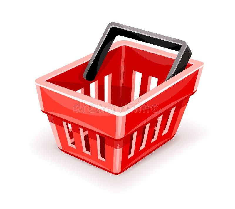 Icona vuota rossa del cestino della spesa illustrazione di stock