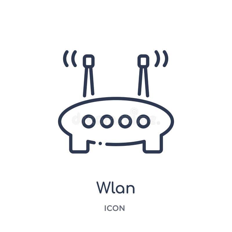 Icona wlan lineare da sicurezza di Internet e dalla raccolta del profilo della rete Linea sottile icona wlan isolata su fondo bia illustrazione vettoriale