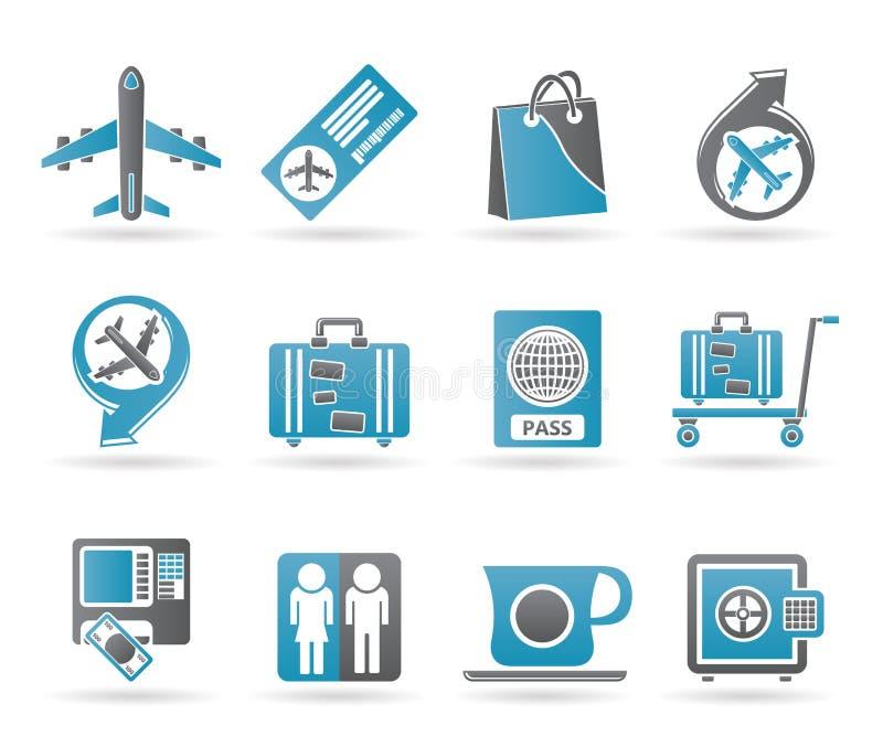 Icone 1 dell'aeroporto, di corsa e del trasporto illustrazione di stock