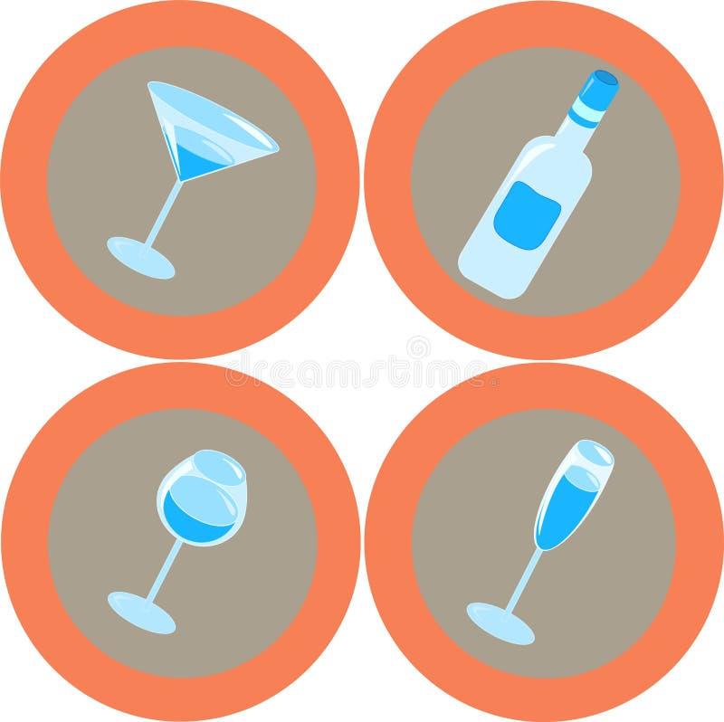 Icone 1 dell'alcool illustrazione vettoriale