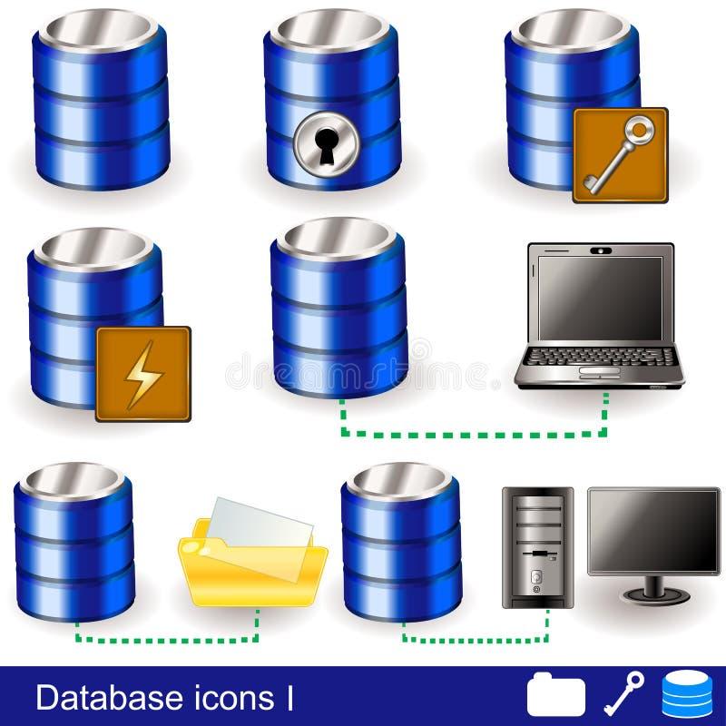 Icone 1 della base di dati illustrazione di stock