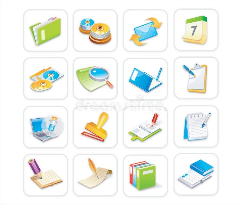 Icone 2 dell'ufficio di Bussiness di 3 royalty illustrazione gratis