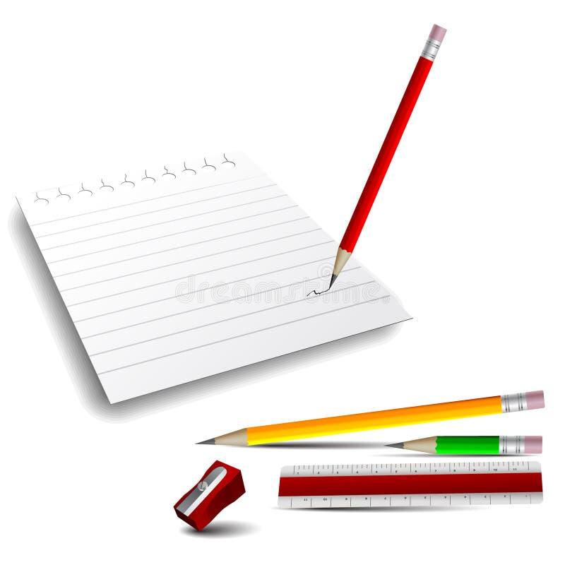 icone 3D: Documento di nota, matite, righello ed affilatrice illustrazione di stock