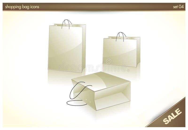 icone 3D - il sacchetto di acquisto, regalo insacca illustrazione vettoriale