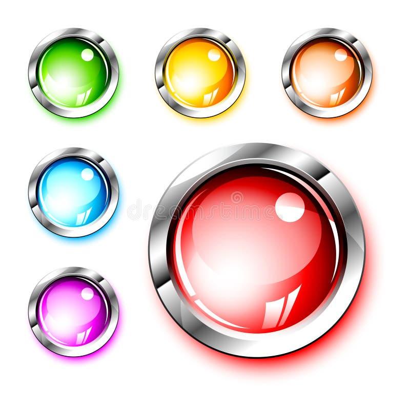 icone 3D: Pulsanti lucidi in bianco illustrazione di stock