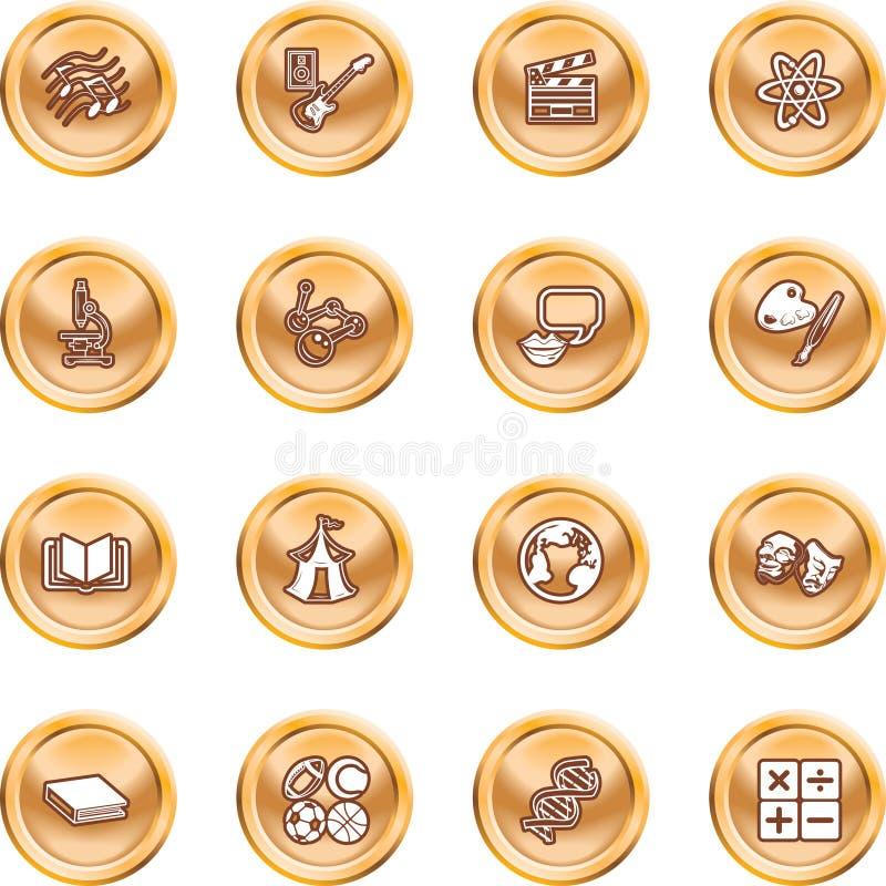 Icone accademiche dell'oggetto di studio illustrazione vettoriale