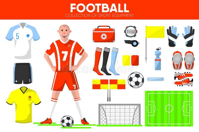 Icone accessorie di vettore dell'indumento del giocatore del gioco di calcio dell'attrezzatura di sport di calcio messe illustrazione di stock