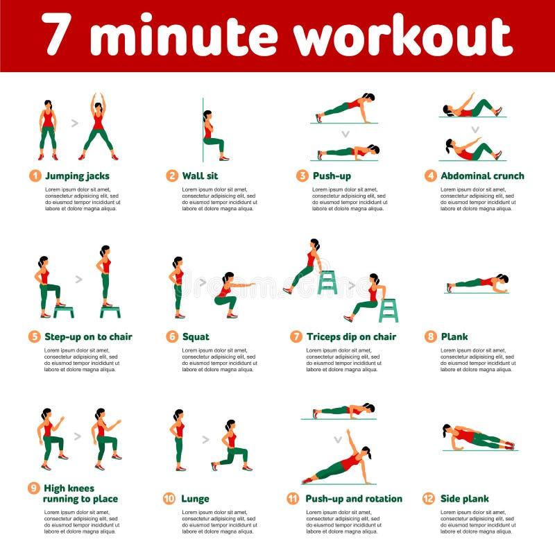 Icone aerobiche allenamento minuto 7 illustrazione vettoriale