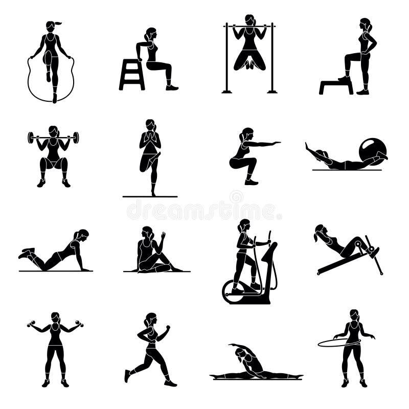 Icone aerobiche 4x4 nero royalty illustrazione gratis