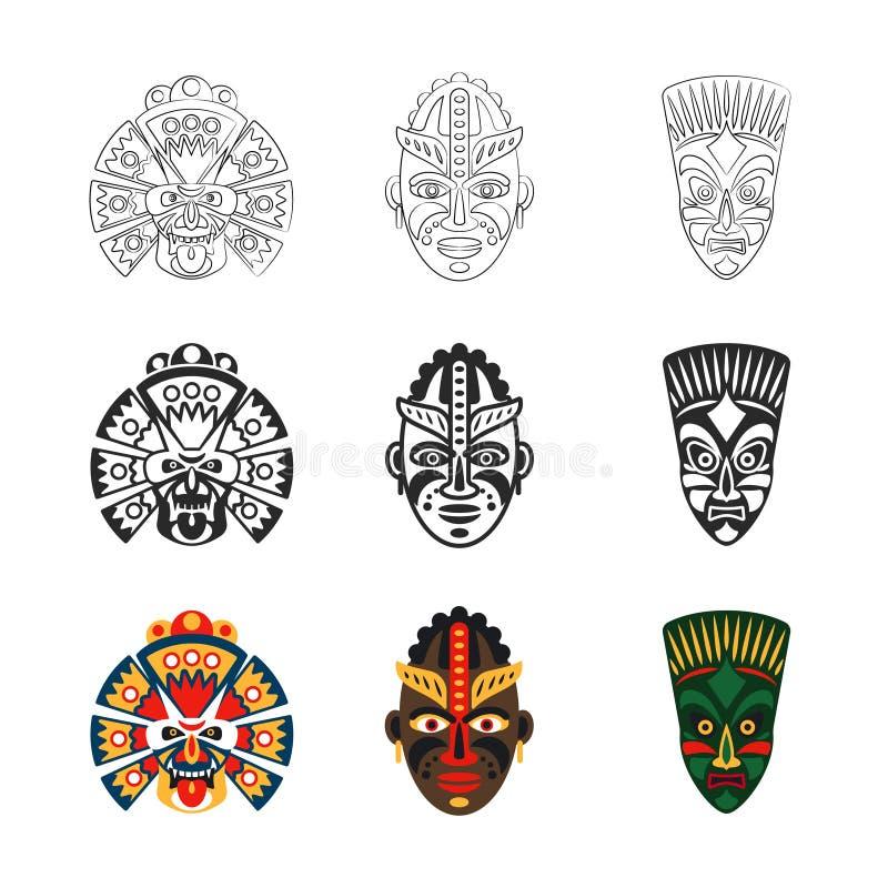 Icone africane della maschera messe illustrazione di stock