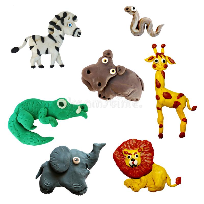 Icone africane selvagge variopinte degli animali del plasticine 3D messe isolate su fondo bianco fotografia stock libera da diritti
