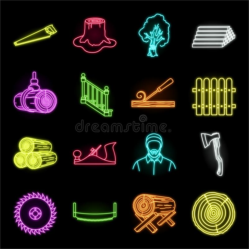 Icone al neon del legname e della segheria nella raccolta stabilita per progettazione L'hardware e gli strumenti vector l'illustr illustrazione vettoriale