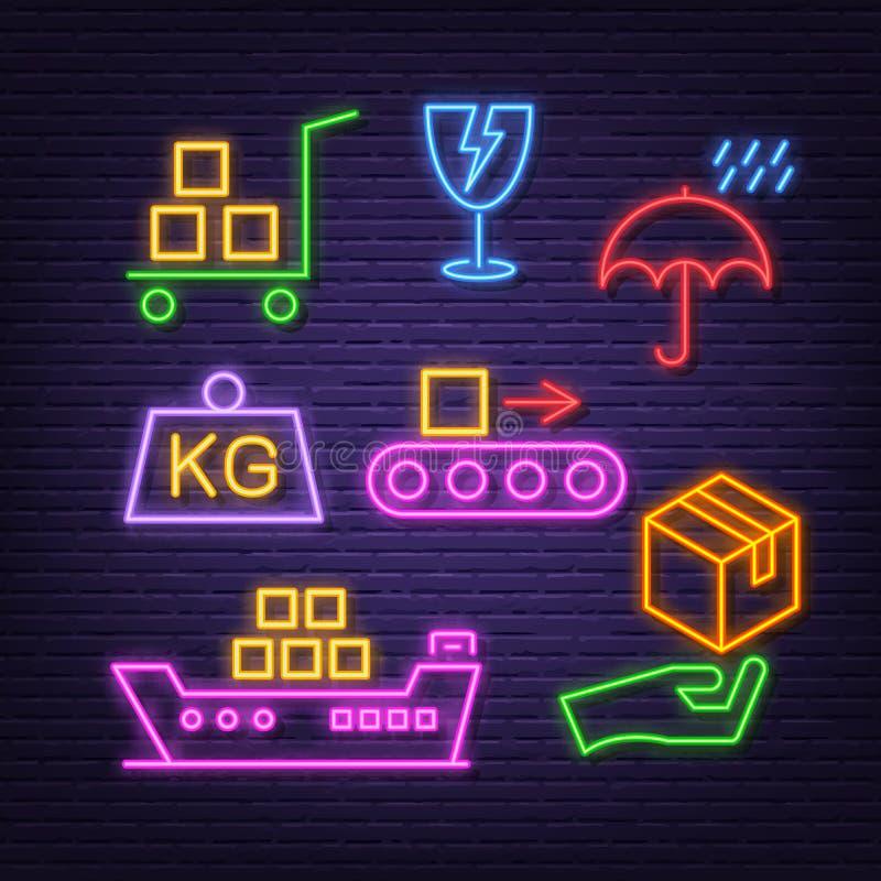 Icone al neon logistiche illustrazione vettoriale