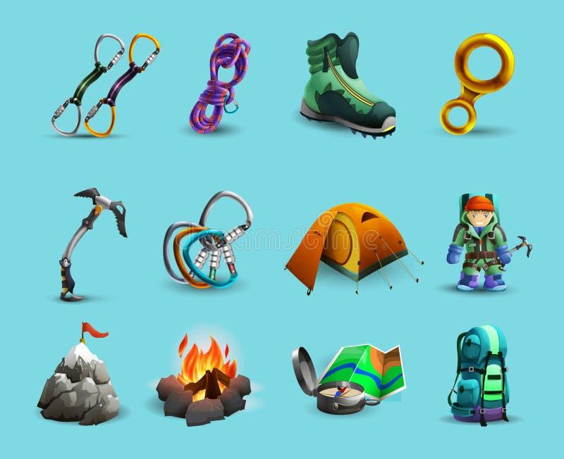 Icone alpine 3d di scalata di montagne messe illustrazione di stock