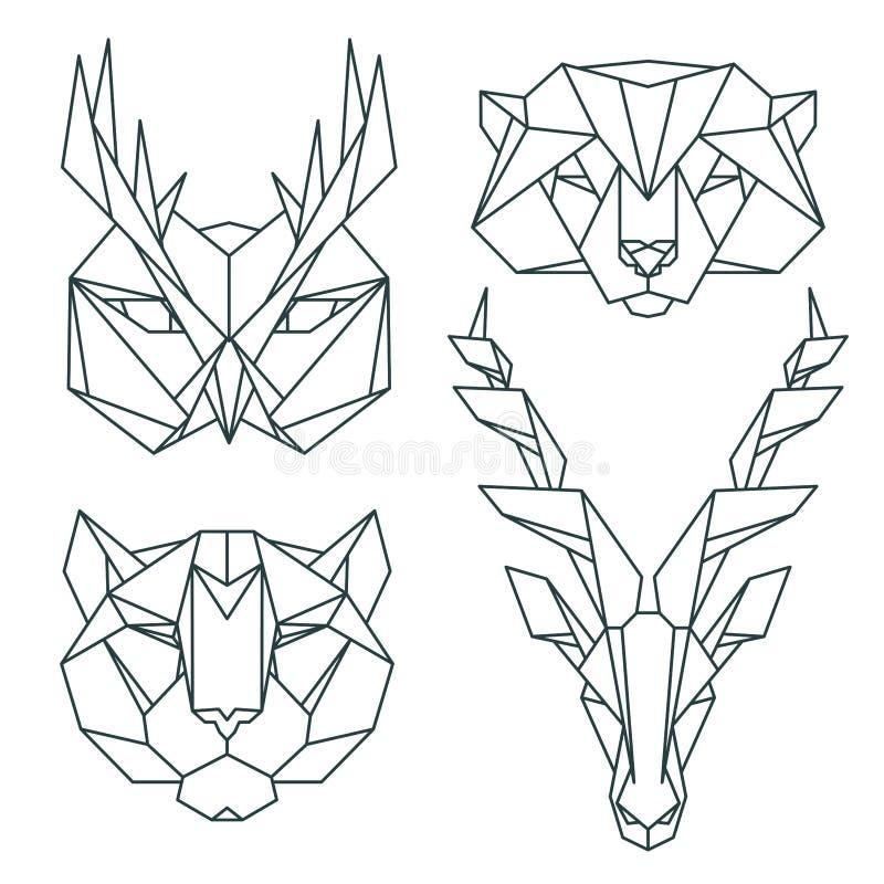 Icone animali africane, insieme dell'icona di vettore Stile triangolare astratto illustrazione di stock