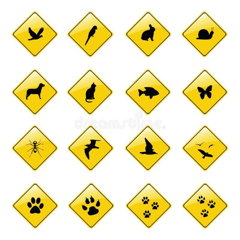 Icone animali gialle del segno illustrazione di stock
