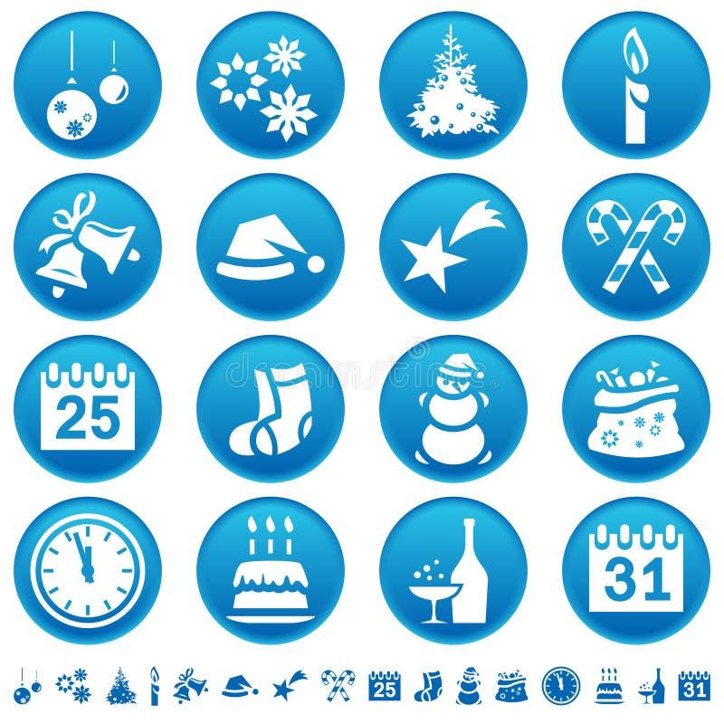 Icone anno di nuovo & di natale illustrazione vettoriale