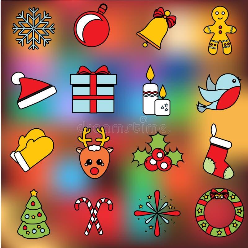 Icone anno di nuovo e di natale Insieme di vettore dei simboli di vacanze invernali, autoadesivi, etichette Bagattella, guanti, c illustrazione di stock