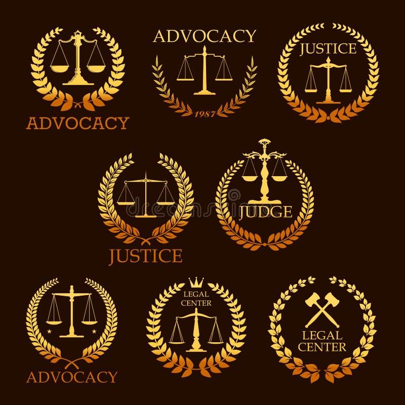 Icone araldiche dell'oro di vettore dell'avvocato o di avvocatura illustrazione vettoriale