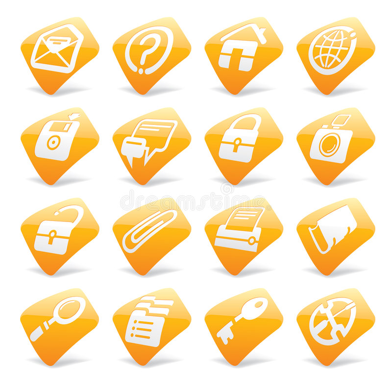 Icone arancioni 1 del Internet e di Web site royalty illustrazione gratis