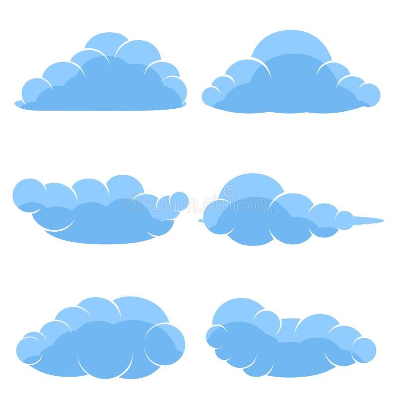 Icone astratte del fumetto delle nuvole blu illustrazione vettoriale