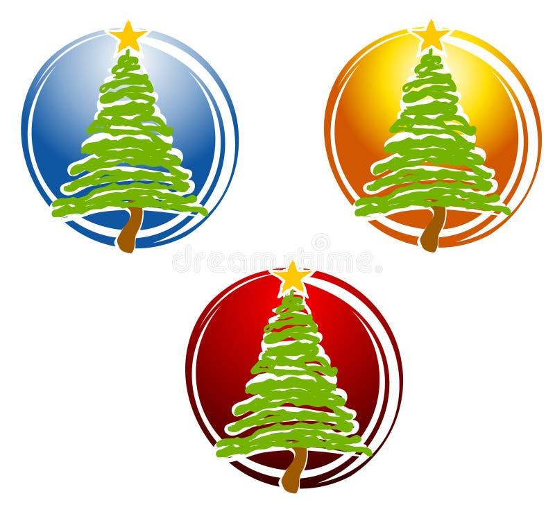 Icone astratte dell'albero di Natale illustrazione di stock