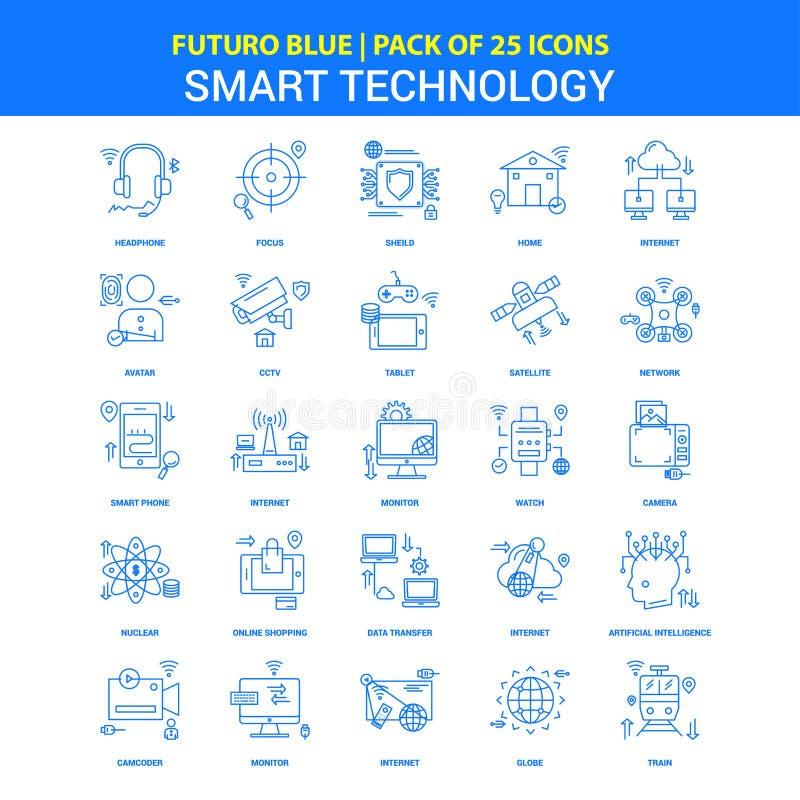 Icone astute di tecnologia - un pacchetto blu di 25 icone di Futuro royalty illustrazione gratis