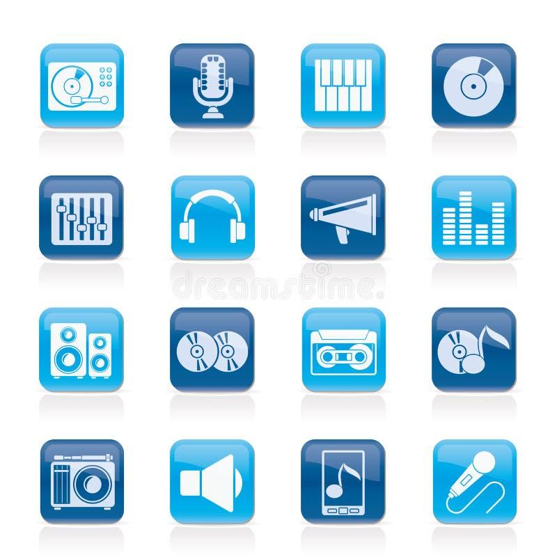 Icone attrezzatura dell'audio e di musica illustrazione di stock