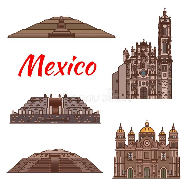Icone azteche di architettura di vettore dei punti di riferimento del Messico illustrazione vettoriale