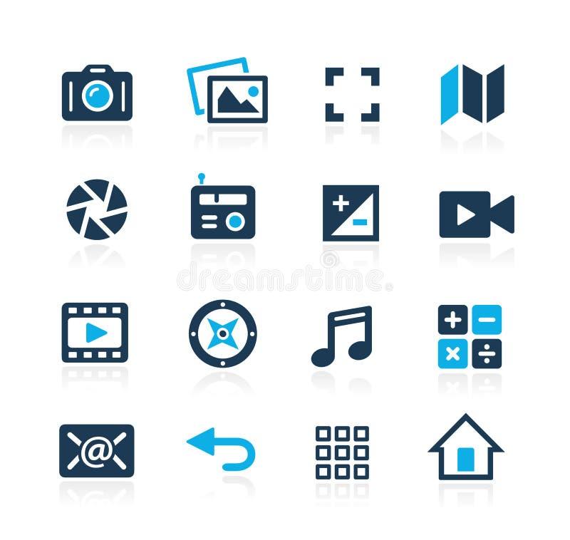 Icone Azure Series dell'interfaccia di media royalty illustrazione gratis