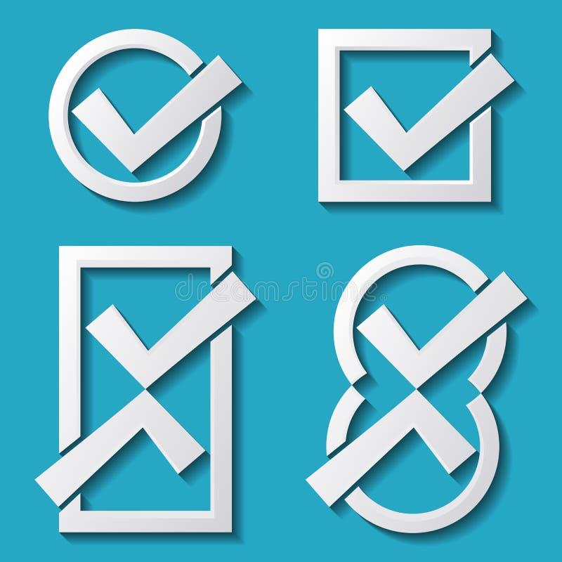 Icone bianche del segno di spunta illustrazione vettoriale