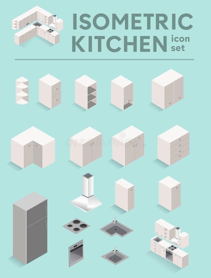 Icone bianche della mobilia della cucina Illustrazione di vettore illustrazione di stock