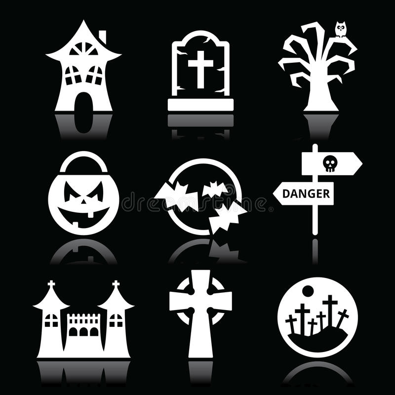 Icone bianche di Halloween messe sul nero royalty illustrazione gratis