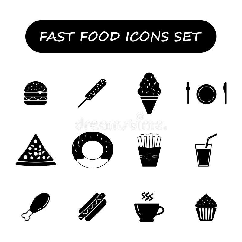 Icone in bianco e nero degli alimenti a rapida preparazione messe illustrazione vettoriale
