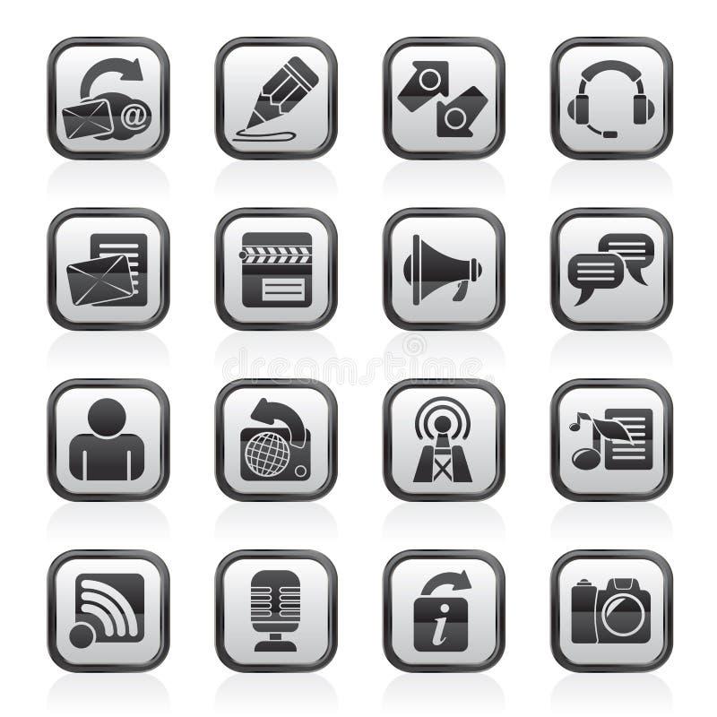 Icone in bianco e nero di blogging, di comunicazione e della rete sociale royalty illustrazione gratis
