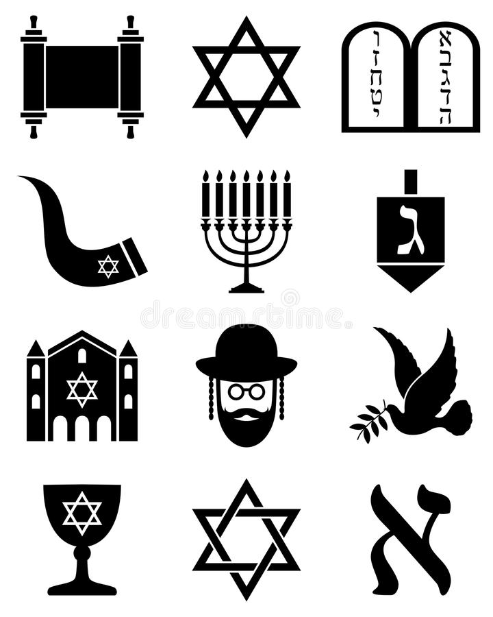 Icone in bianco e nero di giudaismo illustrazione di stock