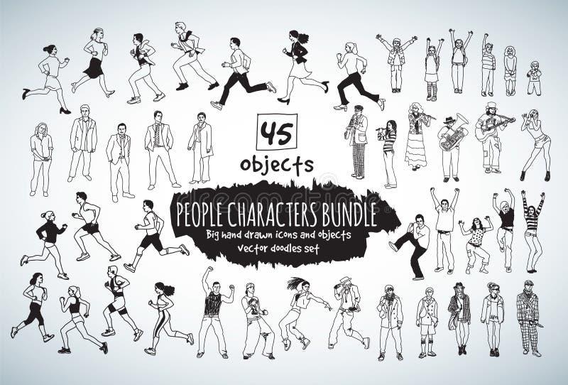 Icone in bianco e nero di grandi del pacco della gente scarabocchi dei caratteri illustrazione di stock