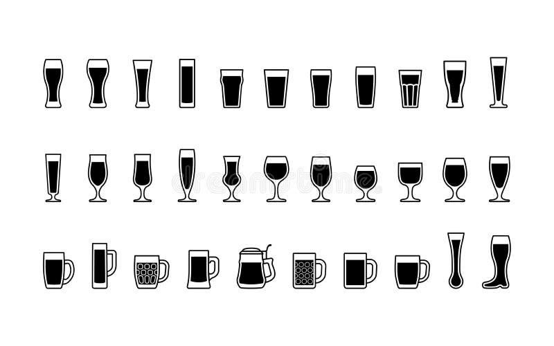 Icone in bianco e nero di vetro di birra Vettore illustrazione vettoriale