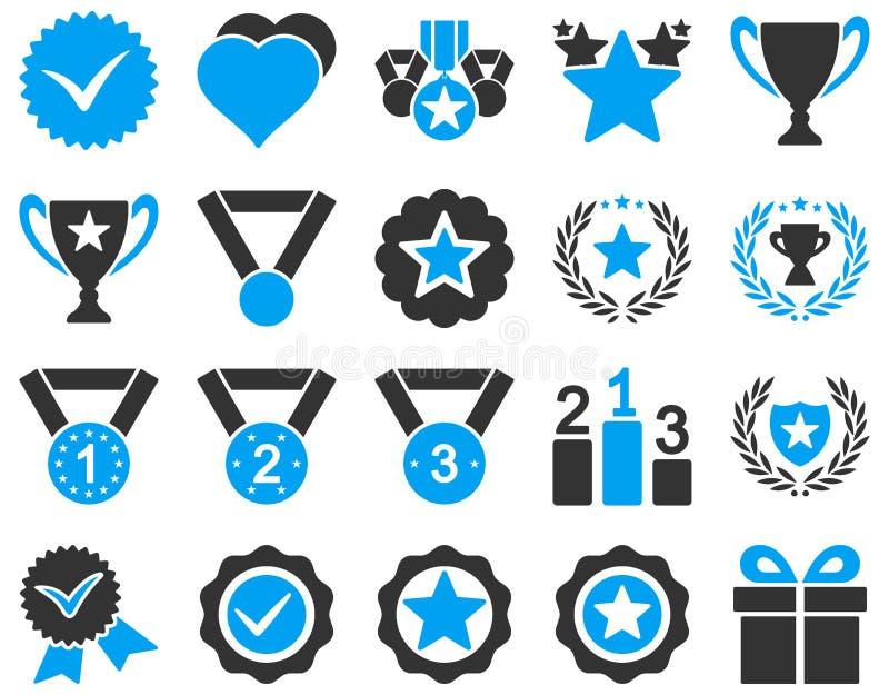 Icone bicolori di successo e della concorrenza illustrazione vettoriale