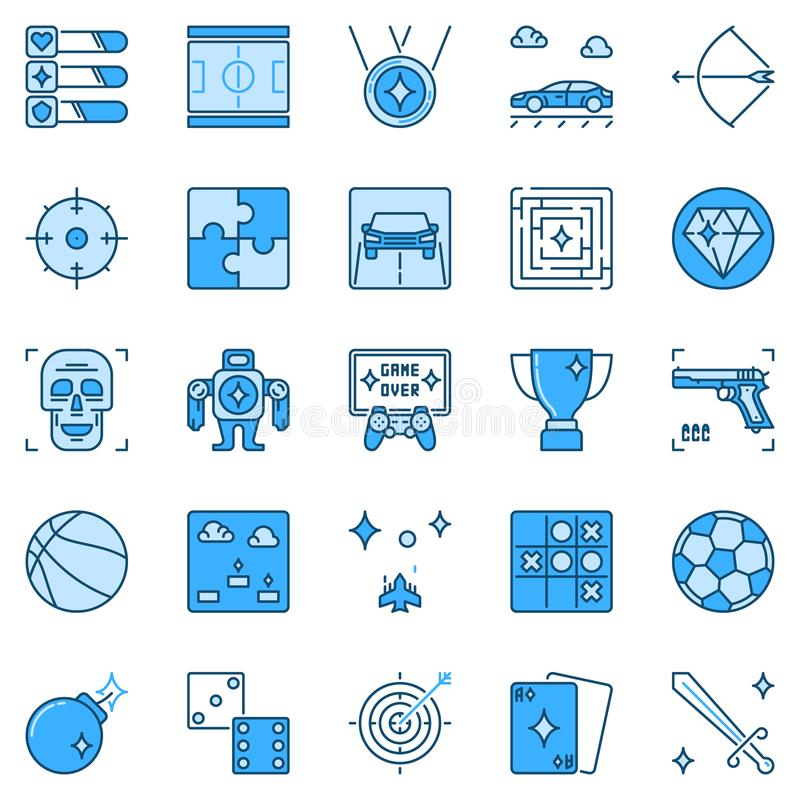 Icone blu dei giochi e di gioco di video Simboli creativi del gioco illustrazione di stock