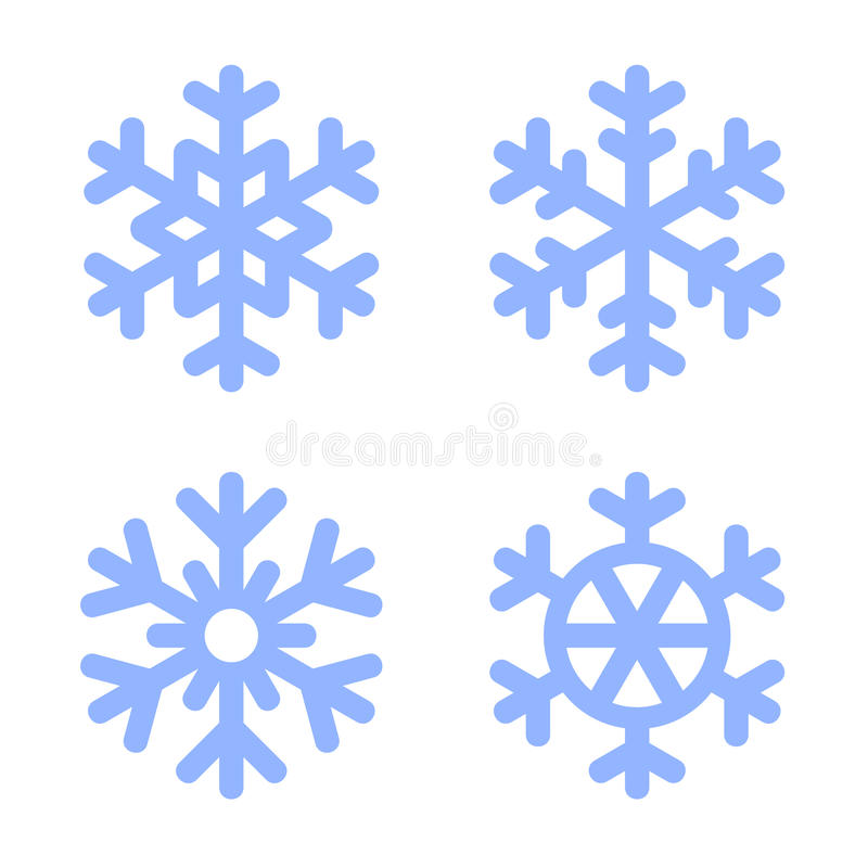 Icone blu del fiocco di neve messe su fondo bianco illustrazione vettoriale