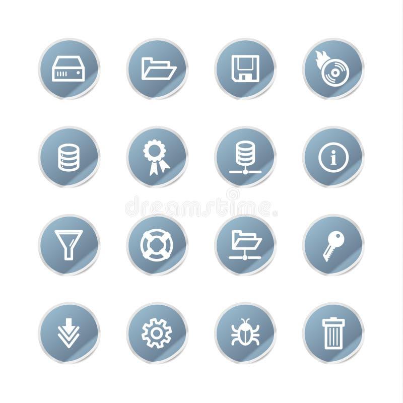 Icone blu del server dell'autoadesivo illustrazione vettoriale