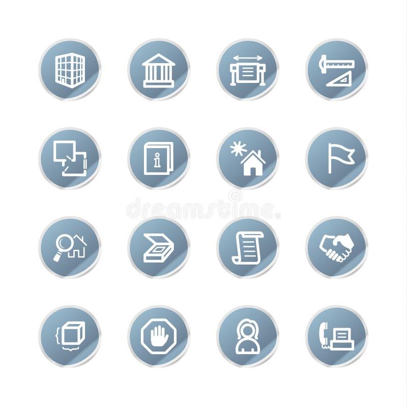 Icone blu della costruzione dell'autoadesivo illustrazione di stock