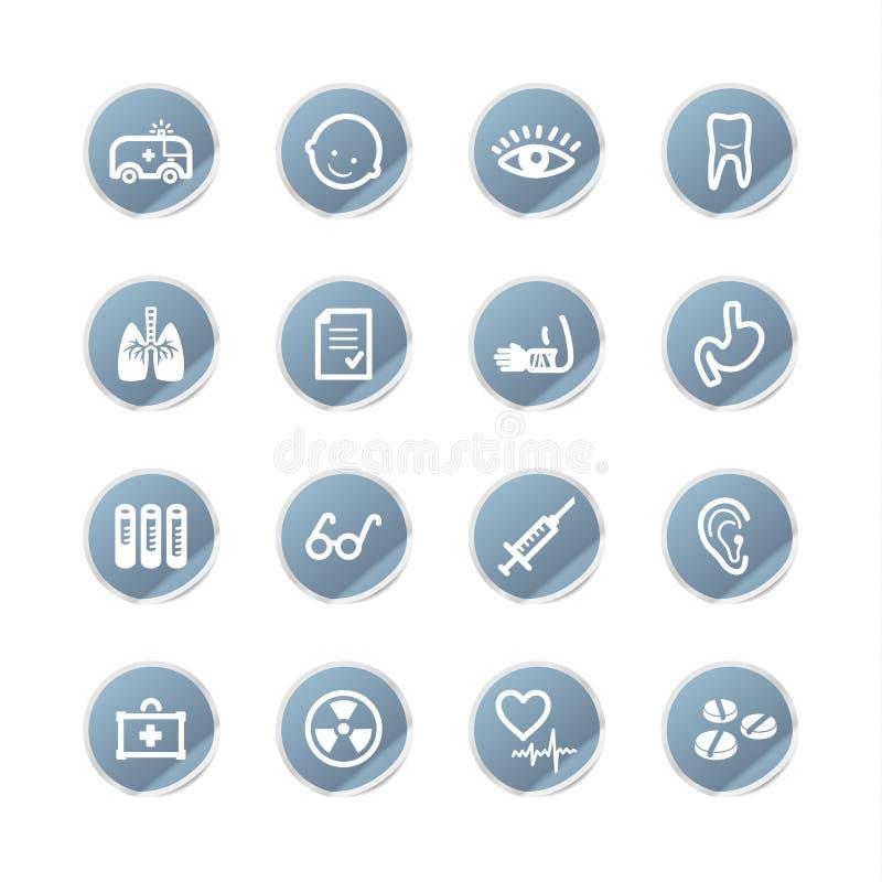 Icone blu della medicina dell'autoadesivo royalty illustrazione gratis